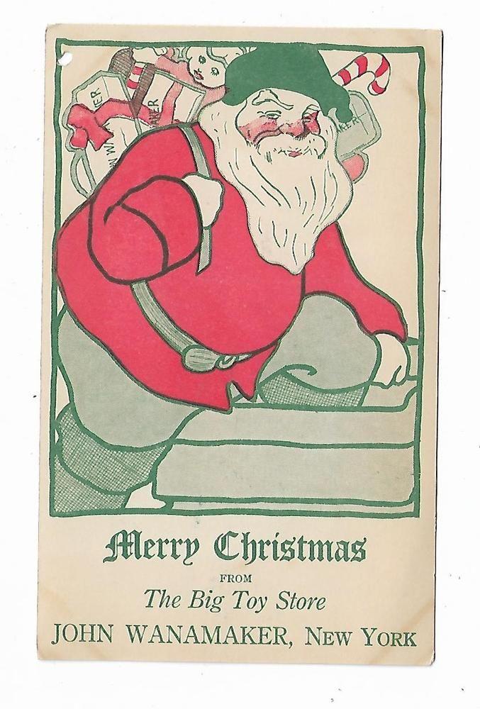 Old Advertising Christmas Postcard Big Toy Store John Wanamaker NY Santa Claus