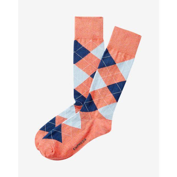 Express Argyle Dress Socks ($11) ❤ liked on Polyvore featuring men's fashion, men's clothing, men's socks, orange, express mens socks, mens orange socks, men's patterned dress socks, mens animal print socks and mens orange argyle socks