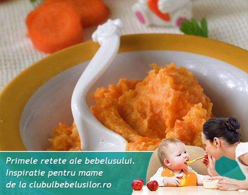 La varsta de 10 luni bebe are deja introduse carnita de curcan si cerealele cu gluten asa ca putem incerca asocierea piureului de cus cus si morcov cu carnita.