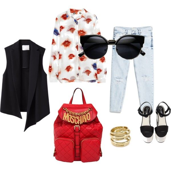"""Saturday Shopping Morning"" by workingincloset on Polyvore #workingincloset #fashion #fashionblog #outfit #style #howtowear #backpack #red #boyfriendjeans"