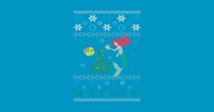 #UglyChristmasSweater - The #LittleMermaid - Ugly Christmas Sweater - T-Shirt   TeePublic - rite.ly/jSR5