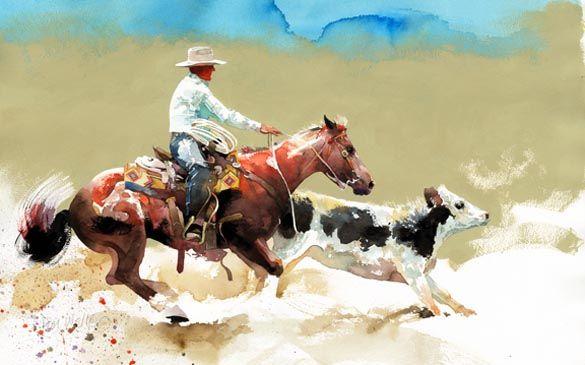 """""""Брэди Got 'Em"""": в исходном прекрасно западное искусство акварель ковбой живопись лошади и всадника чеканка теленка художника и художника До ..."""