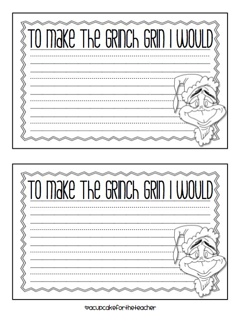 Grinch Day writing activity from A Cupcake for the Teacher: A Grinchy Freebie :)