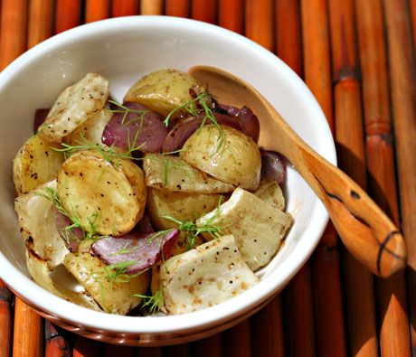 Warm potato, fennel and onion salad with balsamic vinaigrette (Obviously lose the poisonous agave nectar and use honey or other sweetener of your choice)  Delicious!