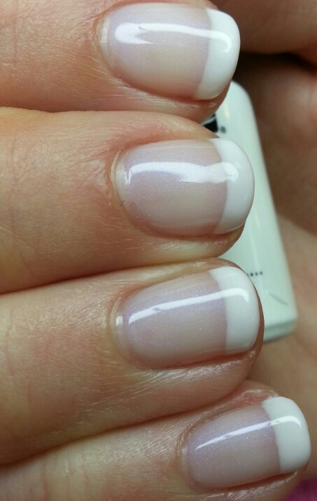 CND Shellac Negligee with Studio White french tips | CND ...