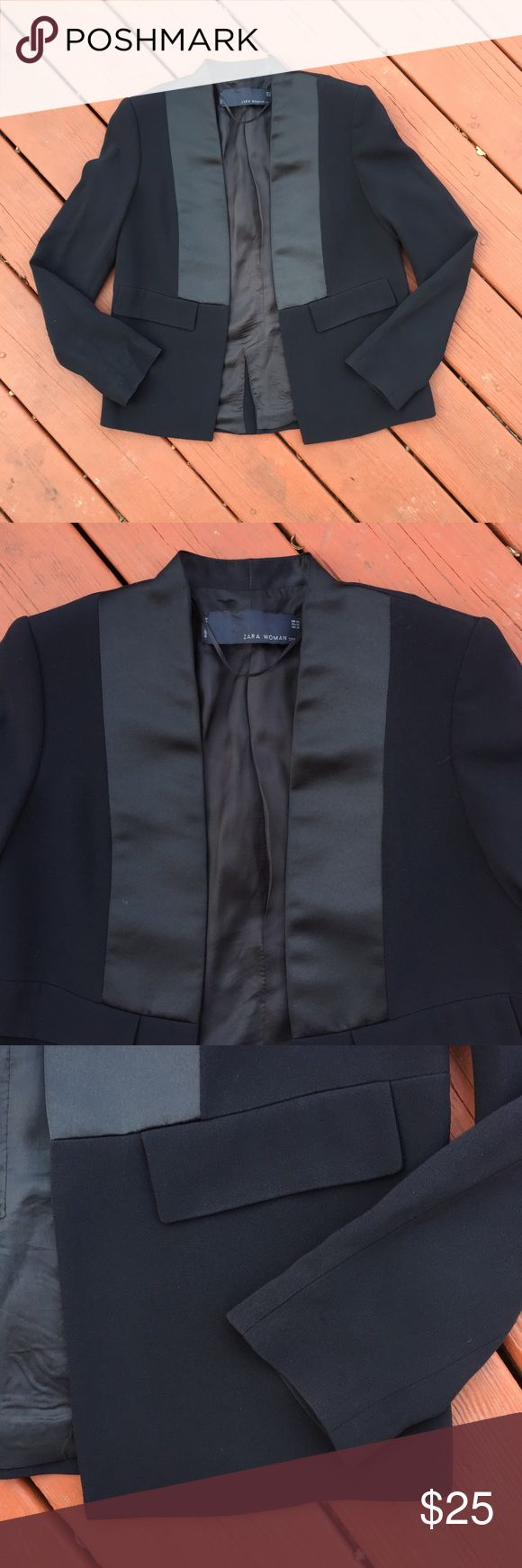 Zara Modern Tuxedo Blazer Zara Modern Tuxedo Blazer in excellent used condition. Clean lines and a menswear inspired design make this the perfect chic and modern Blazer for both casual and formal occasions! Made in Spain. Zara Jackets & Coats Blazers