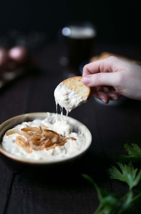 This Parmesan Beer Cheese Dip with Crispy Shallots from The Beeroness is seriously addicting! Serve is at parties or at your next football game viewing.