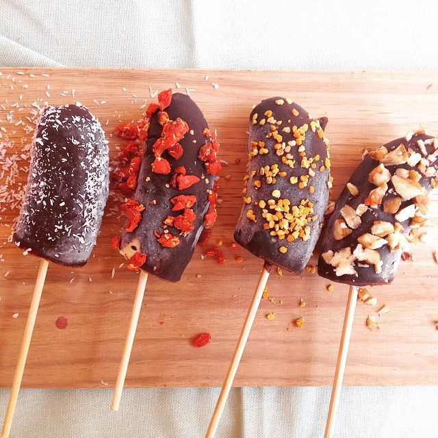 I made these beauties today chocolate covered banana Lolly's! Oh my they are yum ! Perfect for these gorgeous summer days ! Recipe up tomorrow on kirstyloves.co.za