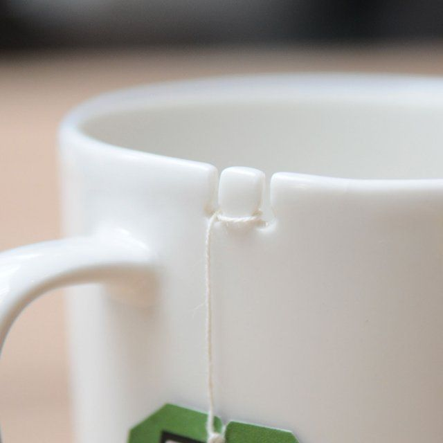 Simply tie your tea bag to the tab and you're all set. Designed like a boat dock cleat - your tea bag won't go floating away!