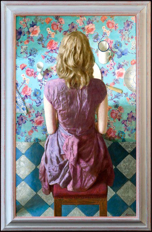 Kenne paintings Meisje aan tafel - 70 x 115 cm - acryl op paneel - 2011