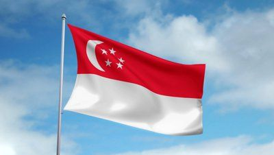 Singapore Flag - The national flag of Singapore was first adopted in 1959, the year Singapore became self-governing within the British Empire. It was reconfirmed as the national flag when the Republic gained independence on 9 August 1965. The design is a horizontal bicolour of red above white, overlaid in the canton (upper-left quadrant) by a white crescent moon facing a pentagon of five small white five-pointed stars. Stands for universal brotherhood and equality, and national ideals.