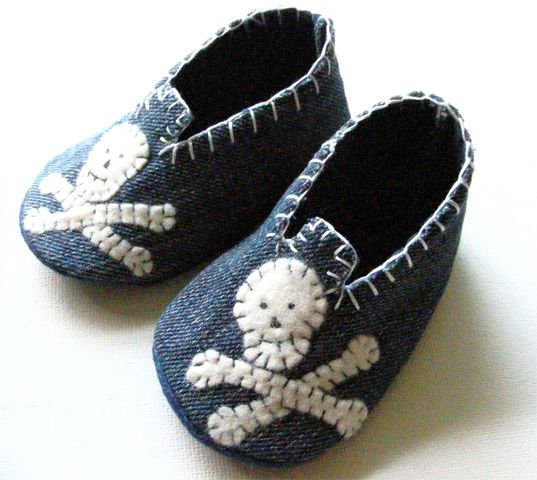 Recycled Denim Skull Baby Shoes