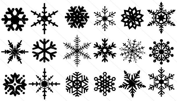 Snowflake Silhouette 20 Snowflakes Snowflake