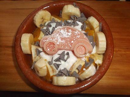 Cosas de Jorge: Coche de sandía con yogurt, naranja y platano