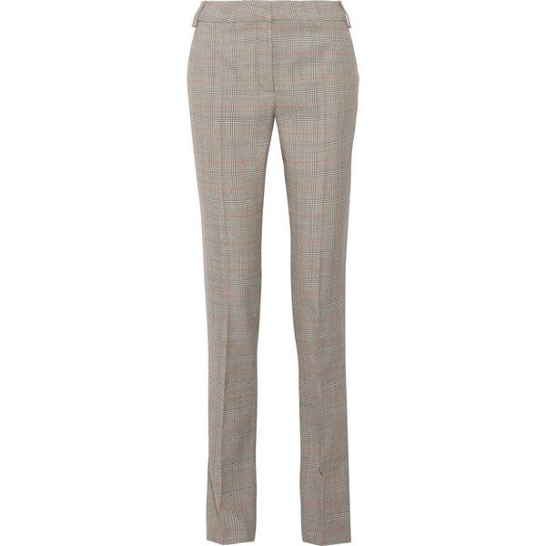 Stella McCartney Jodi checked wool straight-leg pants ($760) ❤ liked on Polyvore featuring pants, grey, wool pants, brown wool pants, brown pants, high-waisted trousers and slim fit wool pants