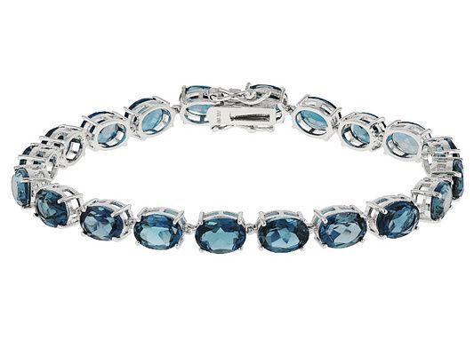25.60ctw Oval London Blue Topaz Sterling Silver Bracelet