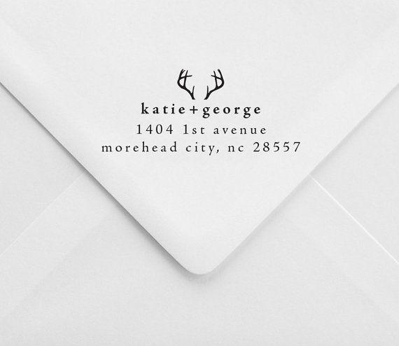 Personalized Return Address Stamp – Antlers – Rustic Wedding Stamp