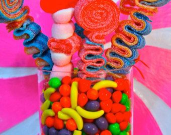 QTY 36 Sweet Stick Candy Kabob Skewers, Edible Favors Centerpiece , Candy Buffet Decor, Candy Arrangement Wedding, Mitzvah,