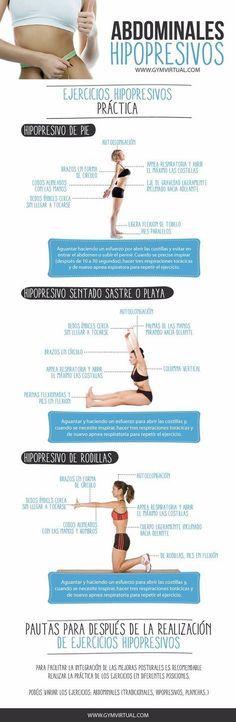 Diferentes ejercicios para aprender a hacer abdominales hipopresivos. #ejercicios #abdominales #deporte #infografias