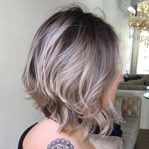 Brown And Ash Blonde Bob Hair color