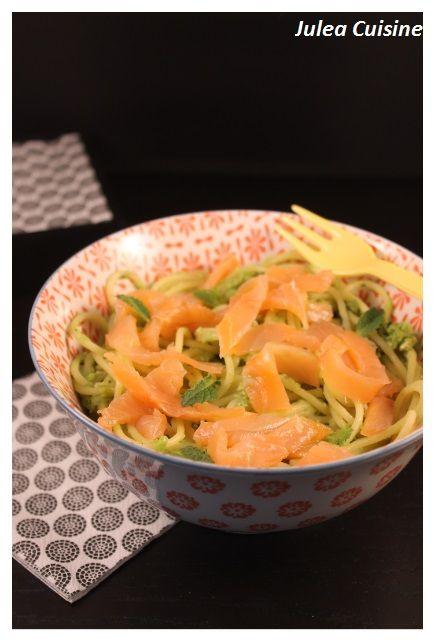 La recette ici : http://juleacuisine.blogspot.fr/2016/01/spaghetti-au-saumon-fume-et-au-pesto-de.html