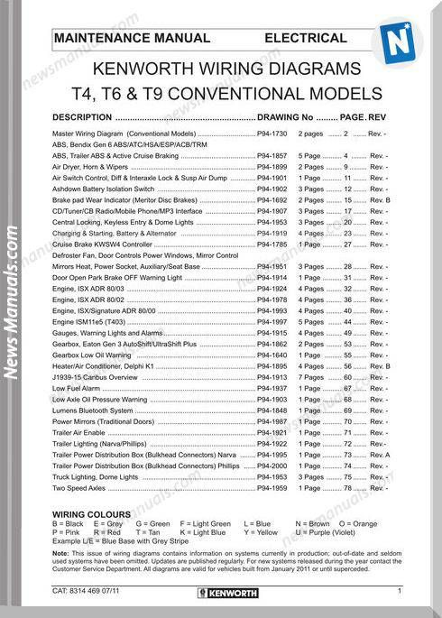 kenworth wiring diagrams t4 t6 t9 conventional models | wiring diagram |  diagram, wire v� model