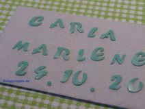 Wachsbuchstaben/Zahlen pastellgrün f. Taufkerze(N)