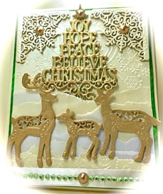 Cards by America, Winter, Christmas, Tree, Holidays, Snow, Seasons Greetings, Festive Collection, Sue Wilson, America, Gold, Deer Family, http://cardsbyamerica.blogspot.com/
