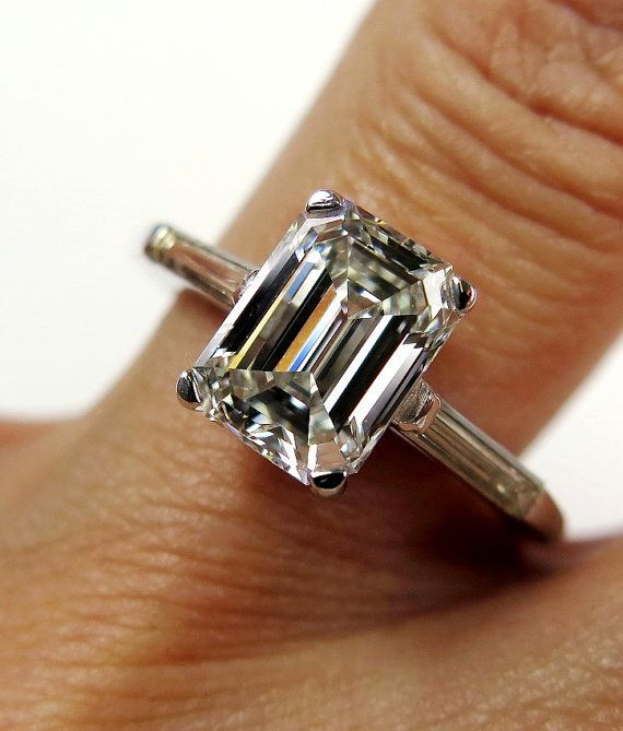 2.62ct Estate Vintage Emerald Cut Diamond with 2 Baguettes Platinum Engagement , Wedding, Anniversary Ring, EGL USA on Etsy, $14,990.00: