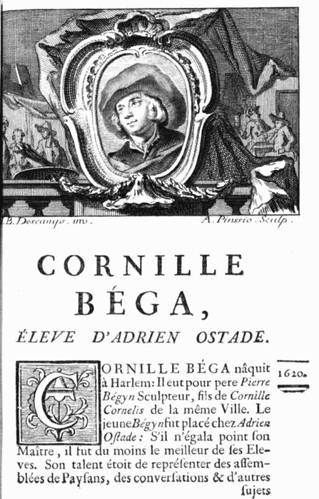 """Бега Корнелис Питерс (Bega, Begga, 1620-1664) - Из книги  Жан-Батиста Декампа """"Жизнь фламандских немецких и голландских художников"""" (1754)"""