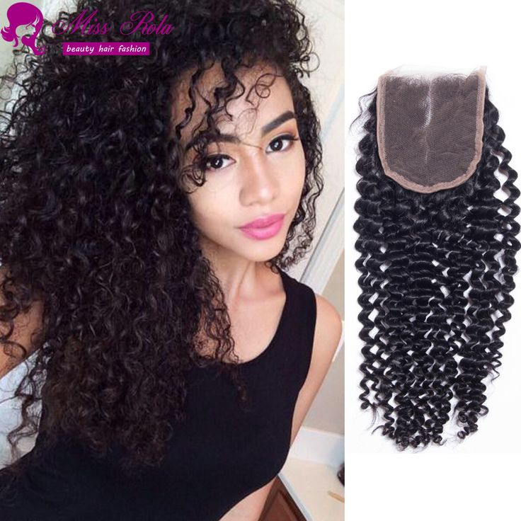 4x4 Middle 3 Part Brazilian Kinky Curly Lace Closure Brazillian Closure Free Part Bleached Knots 7 Brazilian Hair Clousure iece