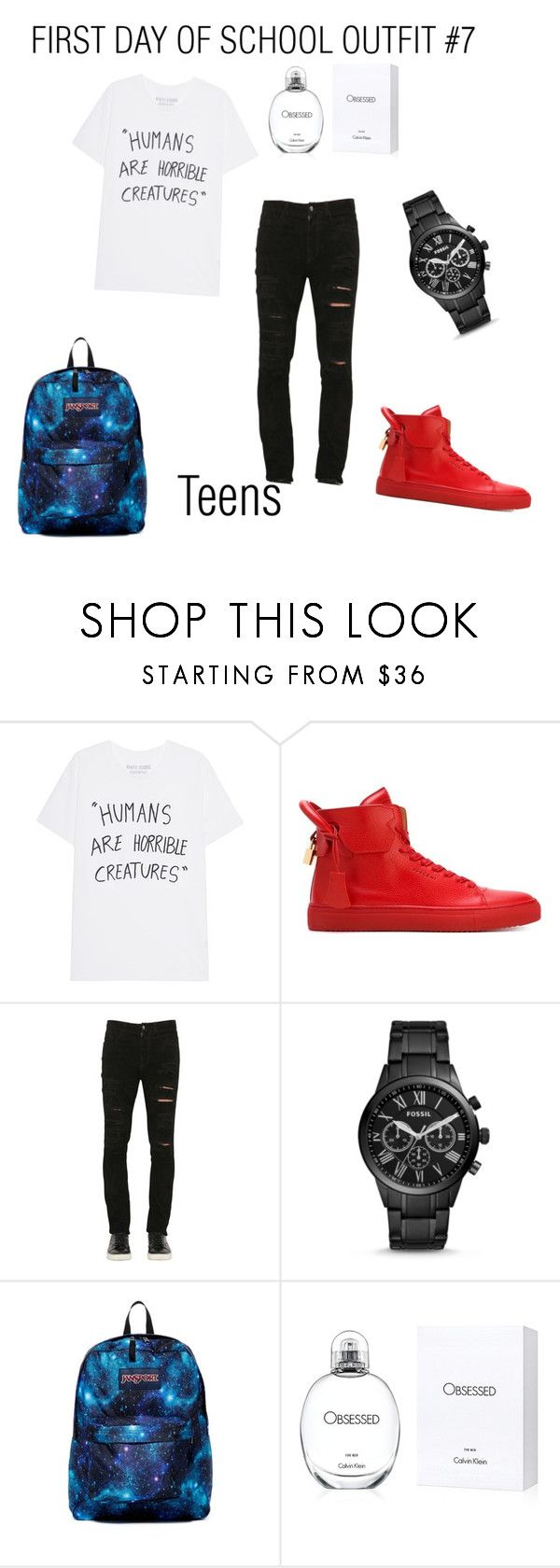 """""""first day of school look book #7"""" by itssnaija ❤ liked on Polyvore featuring BUSCEMI, Giorgio Brato, FOSSIL, JanSport and Calvin Klein"""