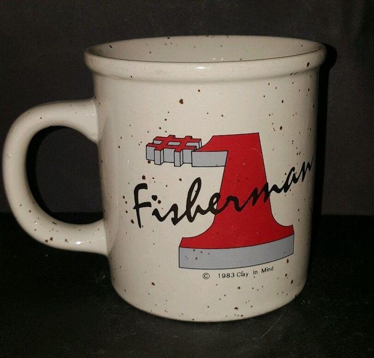Vtg #1 Number 1 Fisherman 1983 Clay In Mind Speckled Coffee Mug Cup 12 Oz