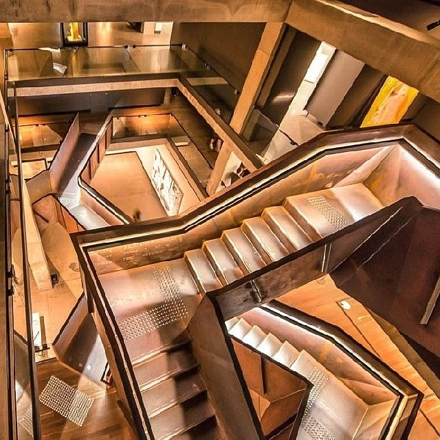 A remarkably Escher-esque capture of the internal staircases of the Museum of Old and New Art (MONA) in #Hobart, thanks to @ffourie. Arguably one of the most controversial private collections of modern art and antiquities in the world, MONA is described by its owner as a 'subversive adult Disneyland'.