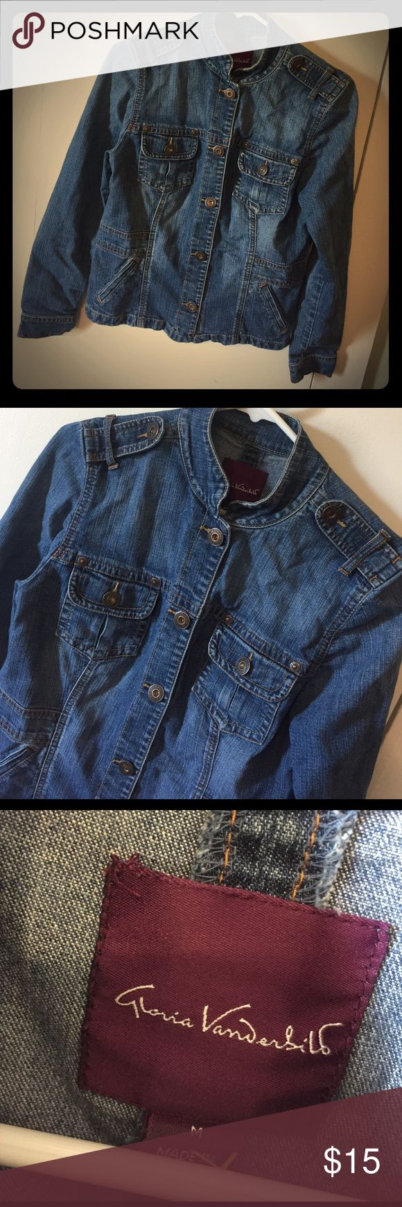 Denim Jacket Awesome jacket for casual wear or to accessorize with that perfect outfit! Sz M, fits like a s/m and no holes or rips Gloria Vanderbilt Jackets & Coats Jean Jackets