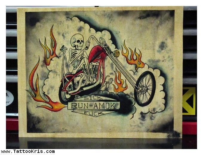 Old School Biker Tattoo Flash