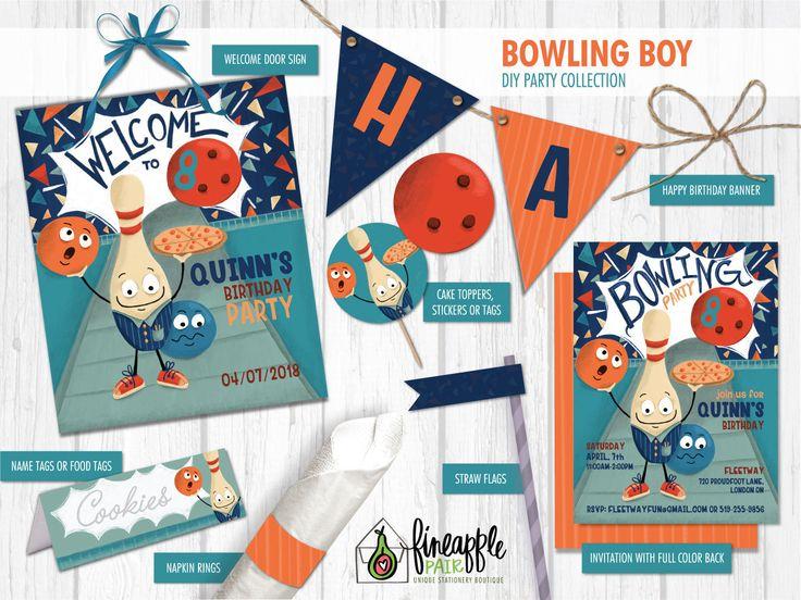 Bowling Birthday Invite, Bowling Boy Birthday Invitation, Bowling Birthday, Bowling Party Package, Bowling Birthday Printable, Bowling DIY by FineapplePair on Etsy