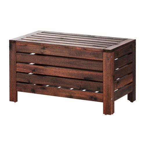IKEA - ÄPPLARÖ, 収納ベンチ 屋外用, ガーデニングツールや植木鉢などを収納できるだけでなく、予備のシートやテーブルとしても使えます耐久性を高めつつ、木材の自然な表情を楽しめるようにするために、家具の表面には半透明のウッドステインを施しています