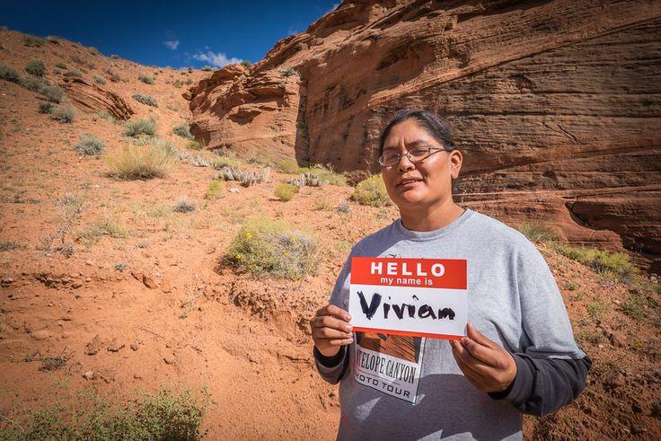 VIVIAN says Hello from Antelope Canyon where she is a #FirstNations guide. #Hello #Art #PhotoProject #Unite #USA #AntelopeCanyon #Travel #Navajo #Portrait