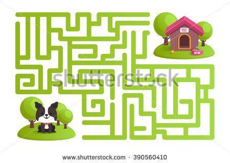 labyrinth, dog, dog house, dog food, game  - stock vector
