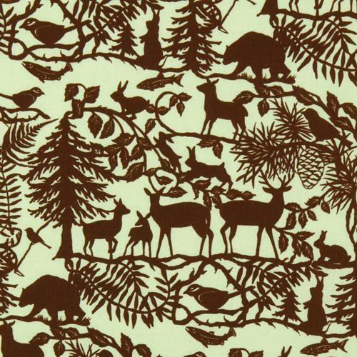 green forest animals fabric Into The Woods USA designer 1