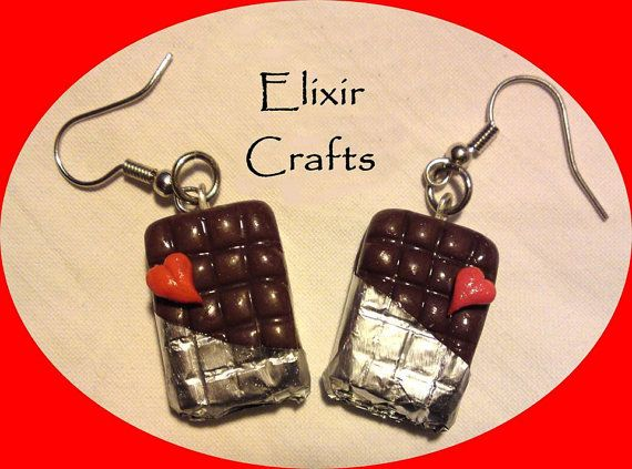 Handmade pair of chocolate bar earrings out of polymer clay.