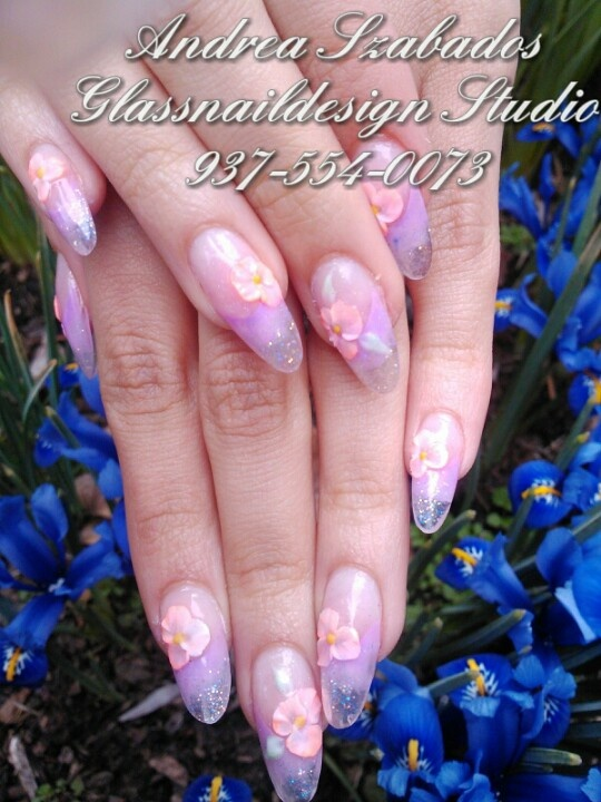 Spring design sculptured acrylic nails with 3D flowers. | My Nail Art ...