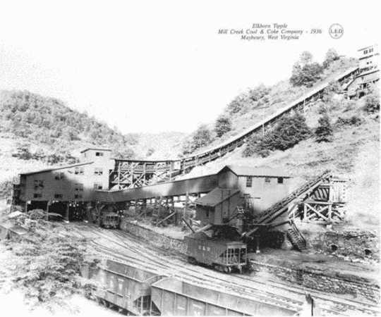 MILL CREEK COAL & COKE COMPANY STORES & TIPPLES, Maybeury, West Virginia, original tipple.