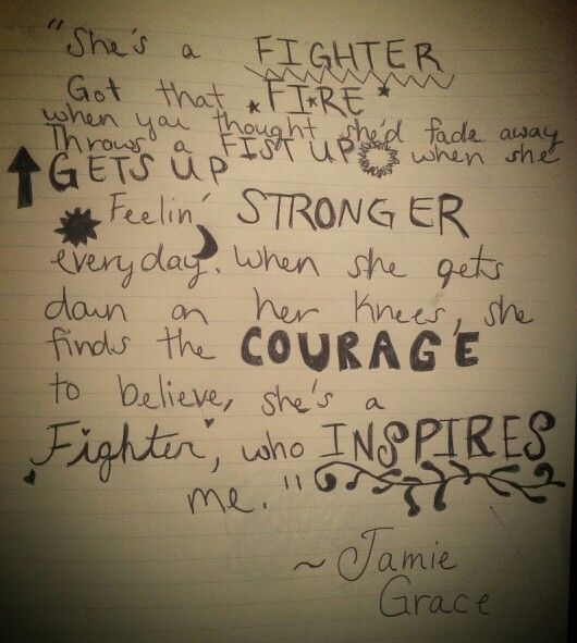 Fighter by Jamie Grace...  Jamie inspires me with her grace in her writing and wisdom of her lyrics.