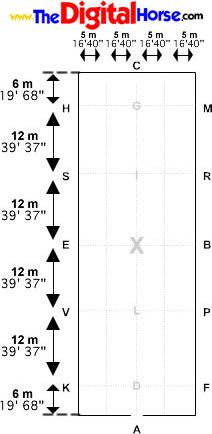 dressage arena measurements and letter placement