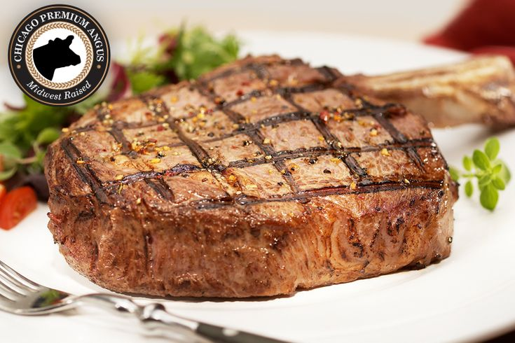 """Premium Angus Beef Bone-In Ribeye: """"With a presentation that matches its flavor, our Premium Angus Beef Bone-In Ribeye… #Beef #Steaks #Wagyu"""