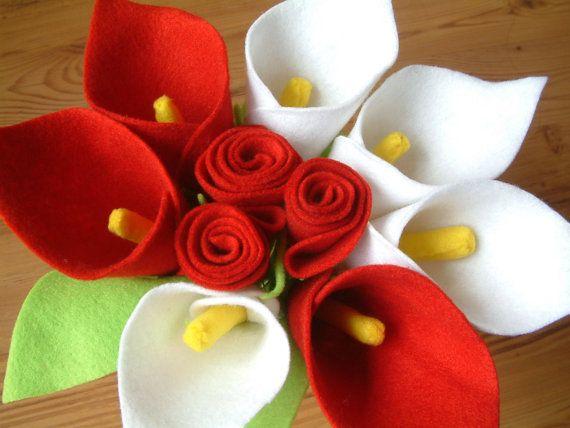 Felt calla lily and rose bouquetPDF Pattern and por fairyfox