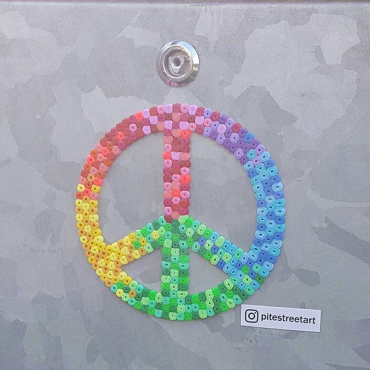 Peace hama perler street art by pitestreetart