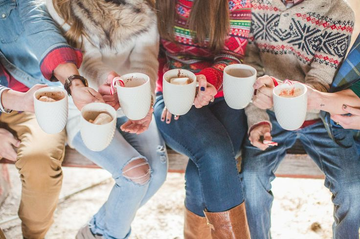 Christmas sweaters & cocoa with candy canes: